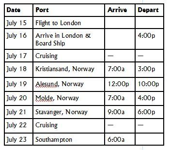 silhouette itinerary