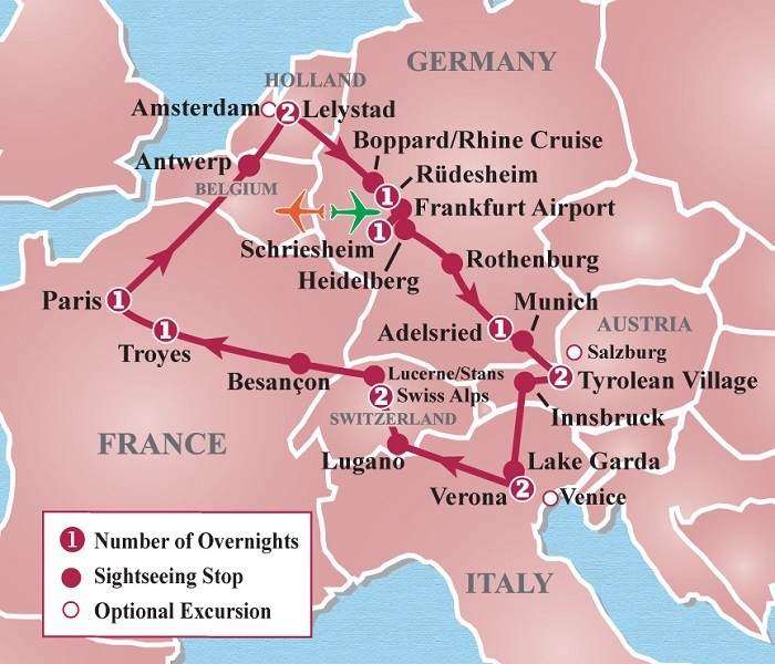 Map Of France Holland And Germany.Friendship Tours Heart Of Europe Circle Tour